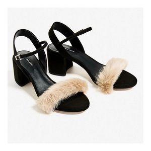 ZARA Furry Block Heel Sandals